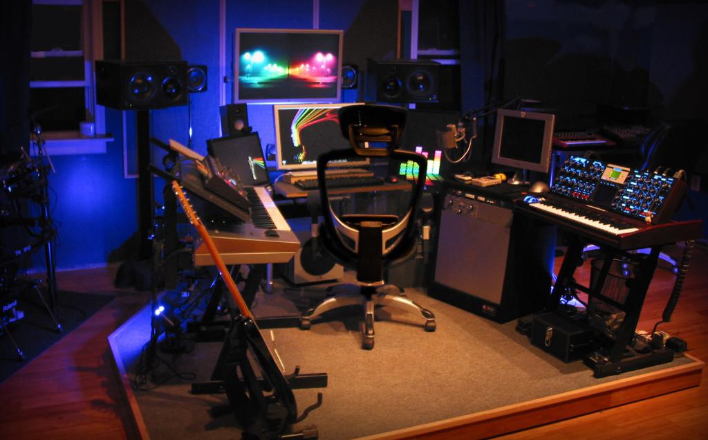 Tyler Walker's music studio